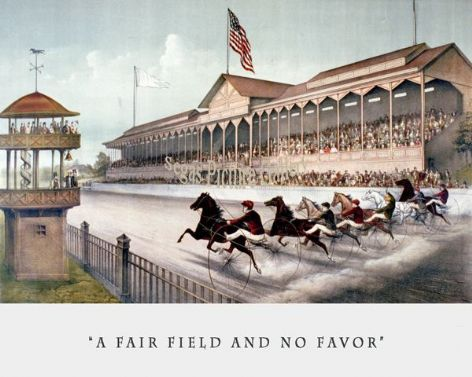 Fine art Horseracing Print of the 1800's Racing and Trotting of A Fair Field and No Favors